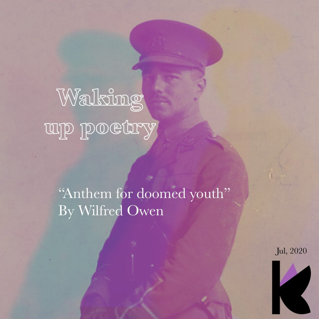 """Cover for the essay """"Waking up poetry."""" An analysis of """"Anthem for doomed youth"""" by Wilfred Owen."""