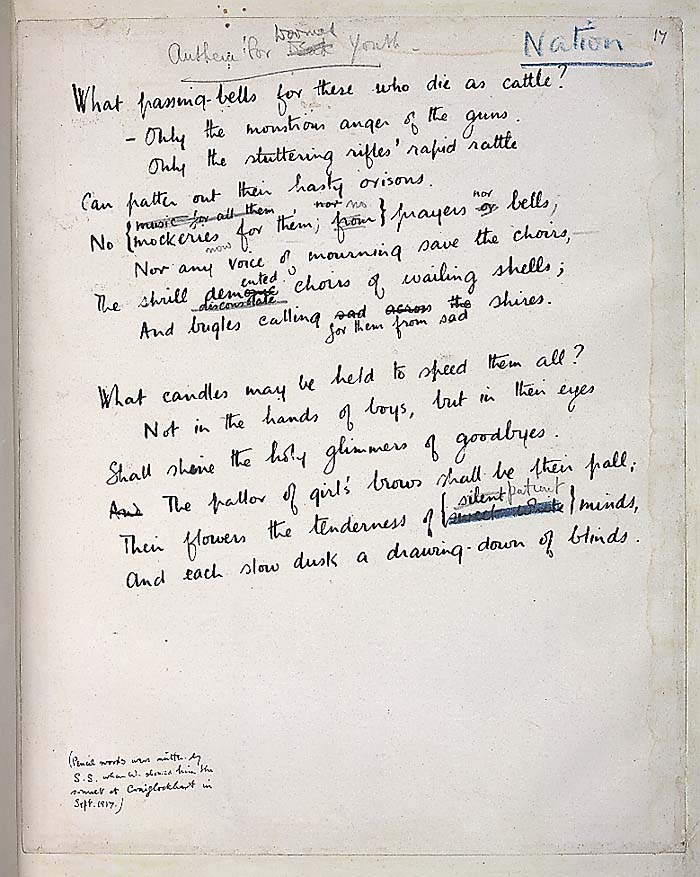 """""""Anthem for Doomed Youth"""" by Wilfred Owens, in his handwriting!"""