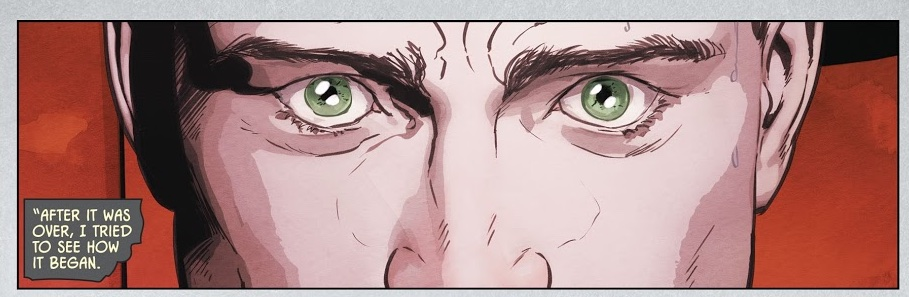 """Chapter 1. Page 1, panel 1. Illustration by Mikel Janín. Colors by June Chung. Letters by Clayton Cowles. From """"The War of Jokes and Riddles."""""""