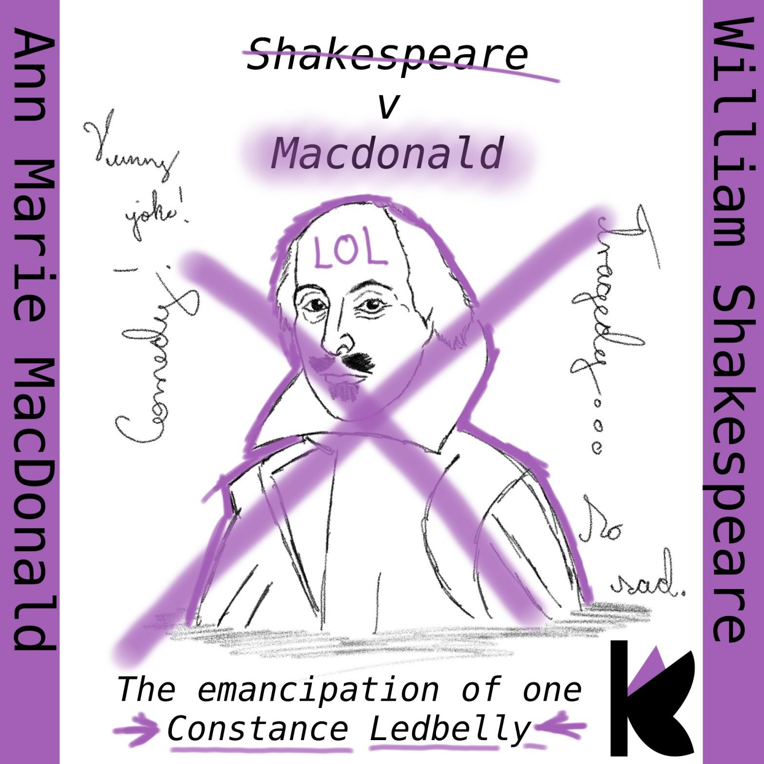 """William Shakespeare rewritten by Anne Marie Macdonald. Cover for the essay """"The Emancipation of one Constance Ledbelly."""""""
