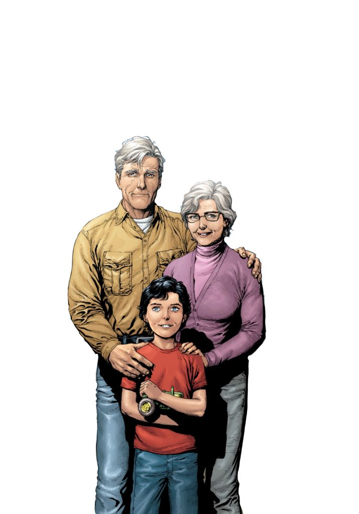 Jonathan and Martha Kent with young Clark Kent, Art by Gary Frank
