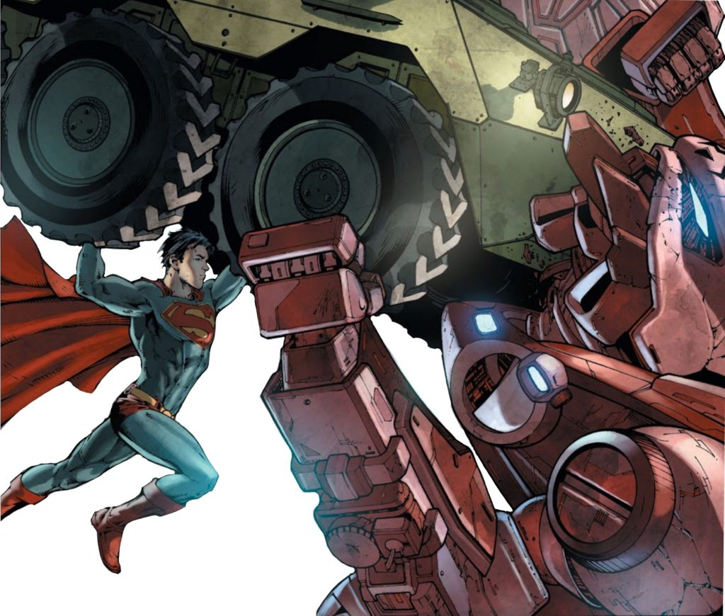 Superman Earth One homage of Action Comics #1