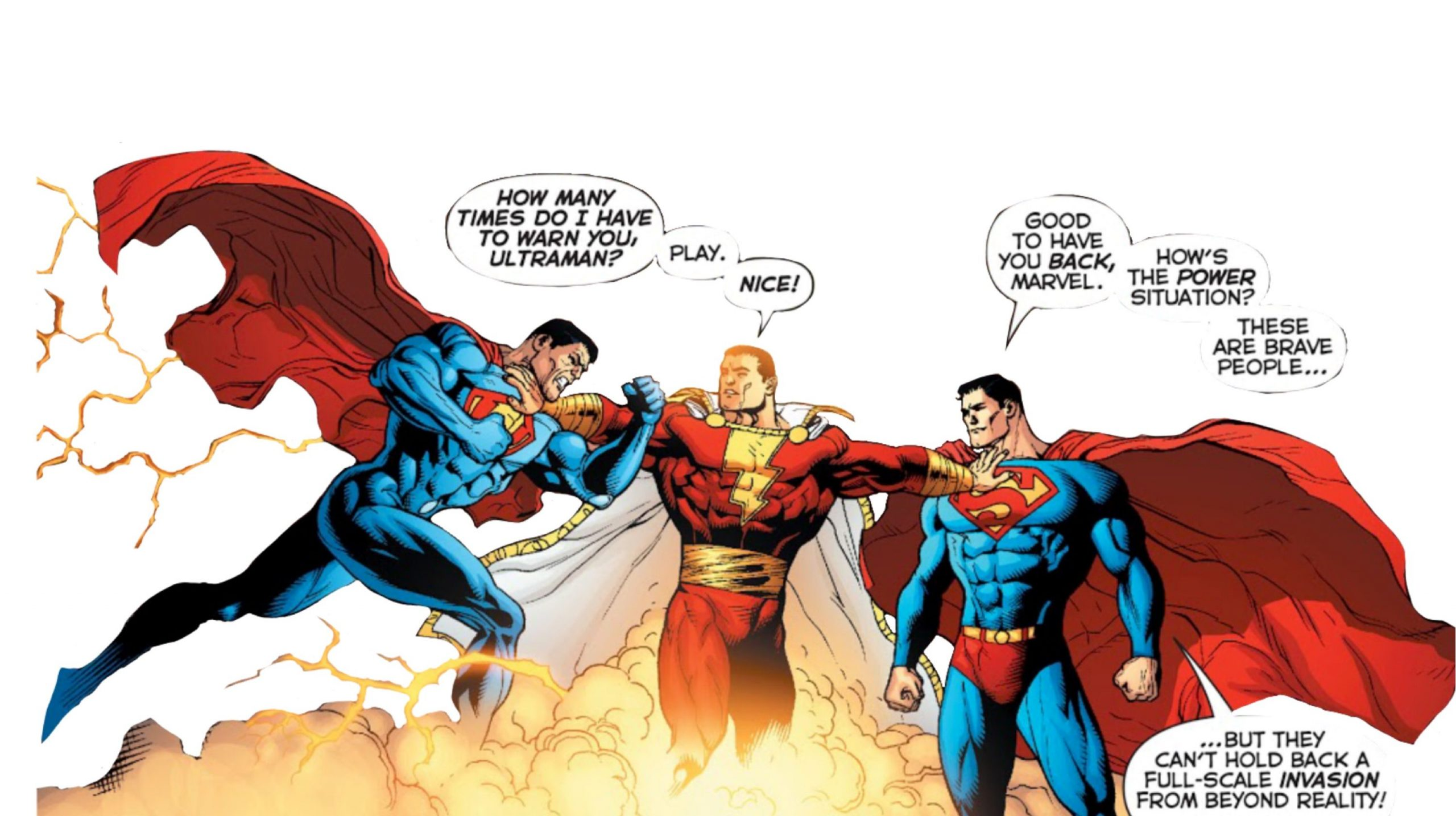 From left to right, Ultraman, Shazam and Superman