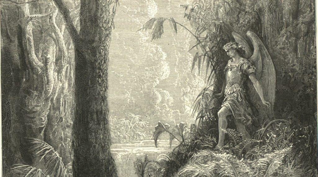 Milton's angels in Paradise Lost: Satan walks through the garden of Eden
